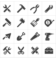 Working Tool and instrument icons white vector