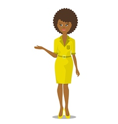 african black woman in yellow dress vector image vector image