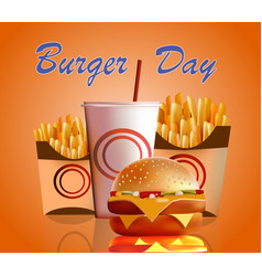 banner burger fries cola vector image