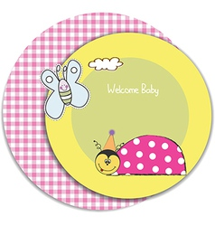 happy birthday card with ladybug vector image