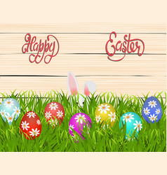 happy easter easter colored eggs with a pattern vector image
