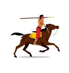 Indian on horseback Cartoon vector image