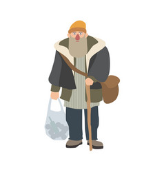 old homeless man with beard and cane standing and vector image vector image