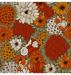 seamless pattern with funky flowers vector image