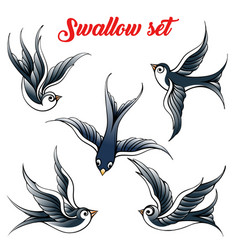 swallow set vector image