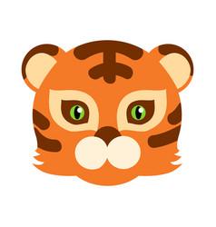 tiger cat carnival mask striped orange brown beast vector image