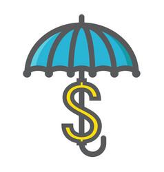 Business insurance colorful line icon umbrella vector