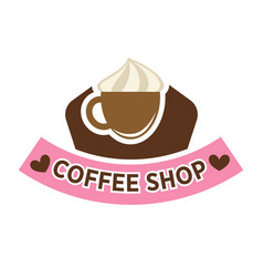 coffeeshop cafeteria or cafe icon template vector image vector image