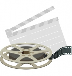 film reel and clapboard vector image vector image