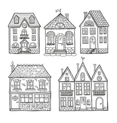 funny doodle houses hand drawn vector image