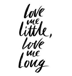 love me little love me long hand drawn lettering vector image