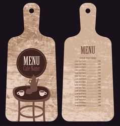 menu for the cafe in the form cutting board vector image vector image
