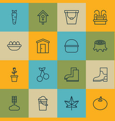 set of 16 holticulture icons includes farmhouse vector image vector image