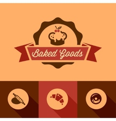 Bakery design icons vector image vector image