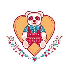Cute panda greeting card vector