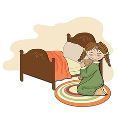 little girl is preparing for sleep vector image
