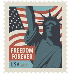 postage stamp with statue of liberty and flag usa vector image vector image