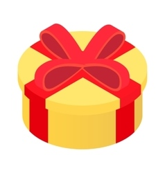 Round gift isometric 3d icon vector image