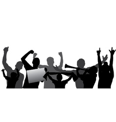 Sport Fans Cheering Crowd Silhouettes vector image