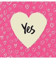 yes in heart vector image vector image