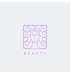 female face logo template vector image vector image