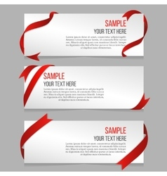 Horizontal banners set with red ribbons vector image