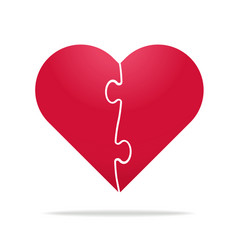 puzzle heart divided in two parts - relationship vector image vector image