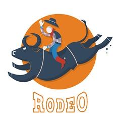 Rodeo symbolman riding a bull vector
