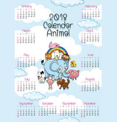 2018 calendar template with cute animals vector