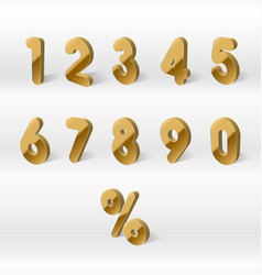 3d yellow golden numbers percent 0 1 2 3 4 vector image