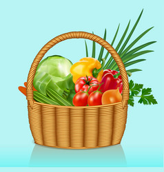 A basket with vegetables tomatoes cucumbers vector
