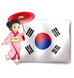 A South Korean girl beside their flag vector