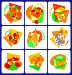 abstract food icons vector image