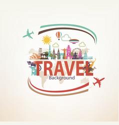 around the world travel background landmarks vector image