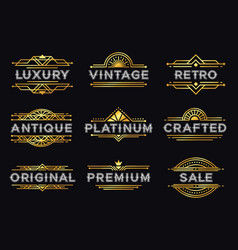 art deco label retro luxury geometric ornaments vector image