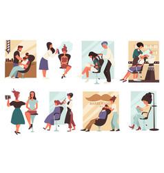 Barbershop or hair salon men and women barbers vector
