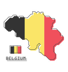 belgium map and flag modern simple line cartoon vector image