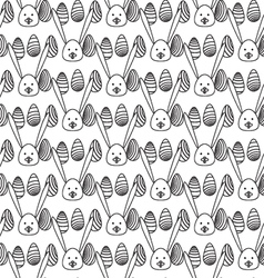 Black and white Easter PatternRabbit and egg vector