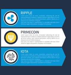 Blue ripple yellow primecoin and monochrome iota vector