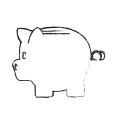 Blurred silhouette cartoon skecth side view piggy vector