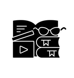 Book review videos black glyph icon vector