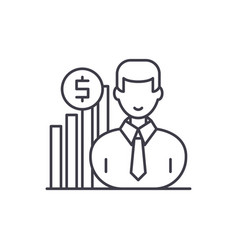 Career growth manager line icon concept career vector