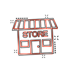 Cartoon store house icon in comic style shop sign vector
