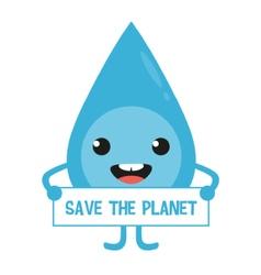 Cartoon water drop character with sign in hands vector