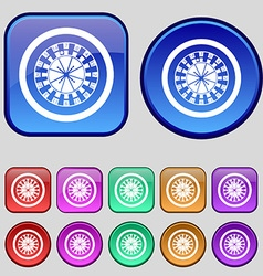 Casino roulette wheel icon sign A set of twelve vector