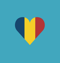 chad flag icon in a heart shape in flat design vector image