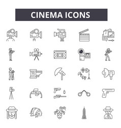 cinema line icons for web and mobile design vector image
