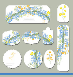 Collection with different floral paper labels for vector