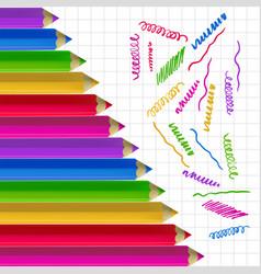 colour pencils on copy-book paper vector image