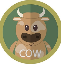 Cute brown cow cartoon flat icon avatar round vector image